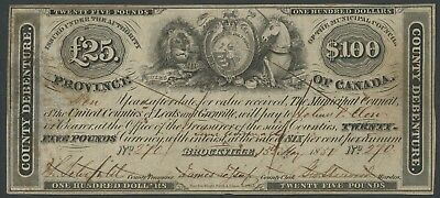 Canada #mv1 $100 Brockville County Debenture May 15,1851 Hw3088