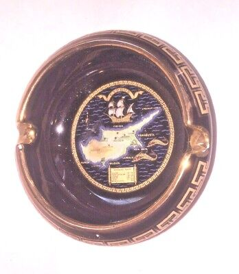 Vintage Ashtray With 24K Gold Detailing Hand Made In Greece Designs By Stakias