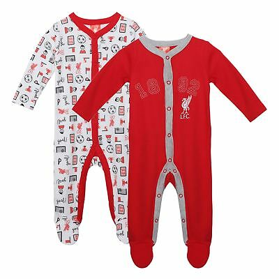 Liverpool FC LFC 2 Pack Baby Red White Liverbird 1892 Sleepsuit NWT Official