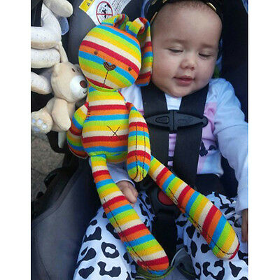 Baby Kids Plush Doll Rainbow Stripe Cute Bunny Rabbit Soothing Bed Toy Girl Gift