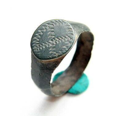 Ancient Medieval Ornament Bronze Finger Ring (MAY44)