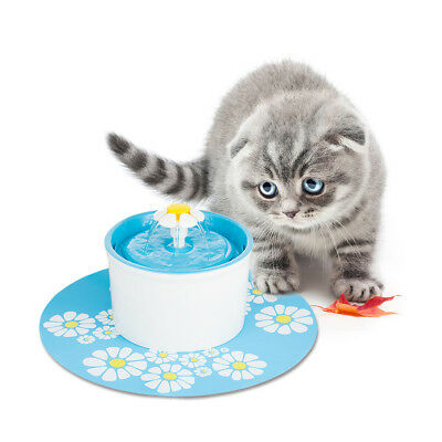 1.6L Automatic Electric Pet Water Fountain Dog/Cat Drinking Bowl + Mat + Filter