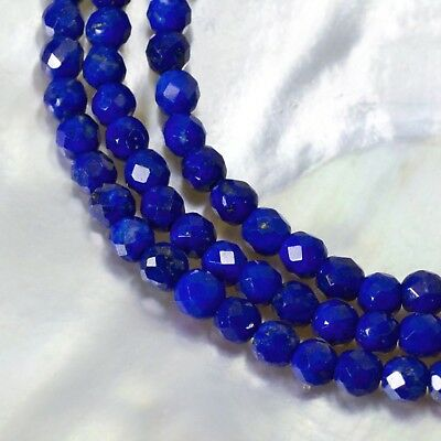 26.05 ct LAPIS LAZULI Beads 15.9 inches Strand 3 mm Faceted Gemstone
