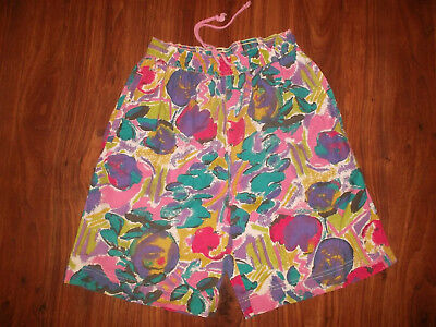 vintage 80`s shorts FREE SPORT beach neon pants olschool surf new wave M