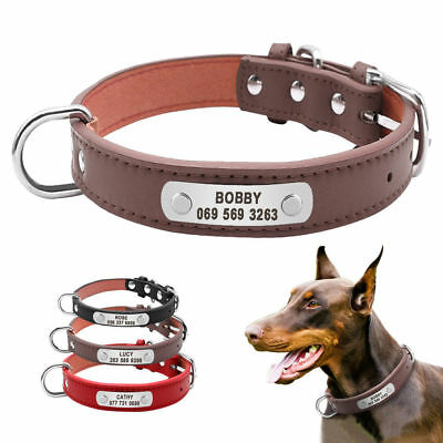 Personalised Dog Collars Leather Pet ID Collar Name Engraved Free for Dogs S M L