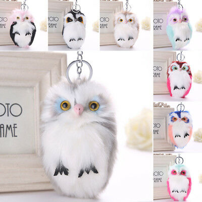 Soft Handbag Car Keychain Owl Pendant Women Keyrings Keys Charm Pompom Fluffy