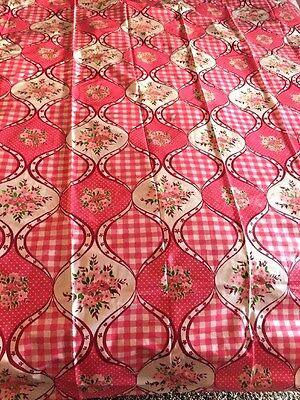 Vintage 70S Catalina Products Pink White Checks Floral Vinyl Shower Curtain