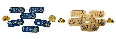 x 5 MASONIC PERSONALISED SOLID BRASS LAPEL BADGE / TIE PIN WITH OWN LODGE NUMBER