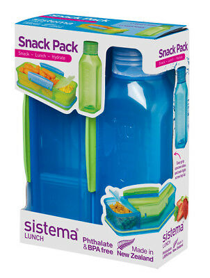 Sistema Snack Pack, Lunch Box and Water Bottle Set, Blue Back To School Work