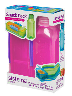 Sistema Snack Pack, Lunch Box and Water Bottle Set, Pink Back To School Work