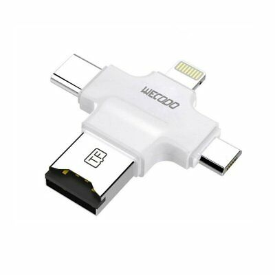 Micro SD Card Reader, WECODO 4 in 1 TF Card Reader with Lightning/USB/Micro USB