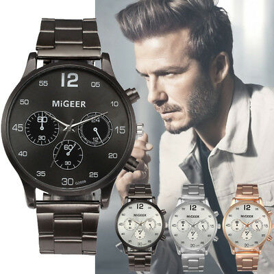 Luxury Men's Crystal Stainless Steel Watch Analog Quartz Business Wrist Watches