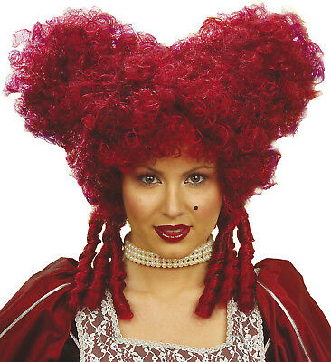 Baroque Wig Medieval Queen Of Hearts Burgundy Red Vampire Halloween Ugly Sister