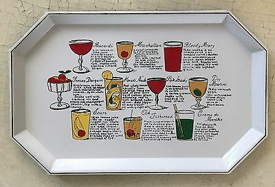 VTG 40s 50s White Bar Tray Cocktail Enamel Tole Recipes Mid Century HWD Regency