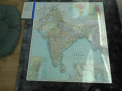 100% Original Large India  Folding Map On Linen By Thacker C1914