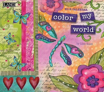 Color My World 2018 Wall Calendar by Lisa Kaus (Lang) NEW, Postage Included