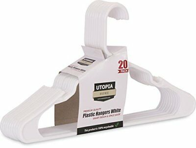 20-Pack Standard Plastic Hangers White  by Utopia Home (White)