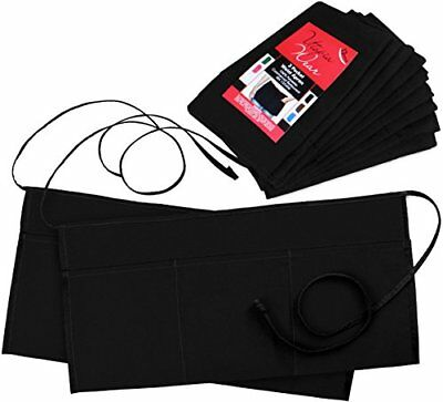 Apron 3 Pockets Waist (SET of 12, Black, 24x12 inches) - by Utopia Wear