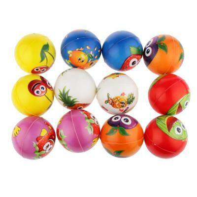 12pcs Fruit Paint Soft Anti Stress Reliever Balls Squeeze Sponge Ball Toys