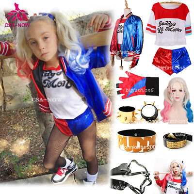 Suicide Squad Harley Quinn Girls Womens Fancy Dress Cosplay Costume Outfit New