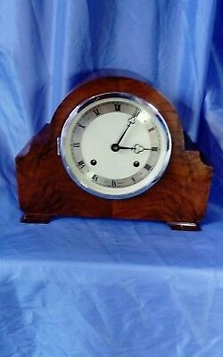 A Vintage Walnut Mantel Clock by Elliott