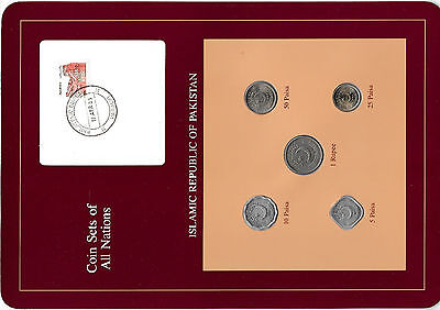 Coin Sets of All Nations Pakistan 1987-1991 UNC 1 Rupee, 10, 5 Paisa 1991