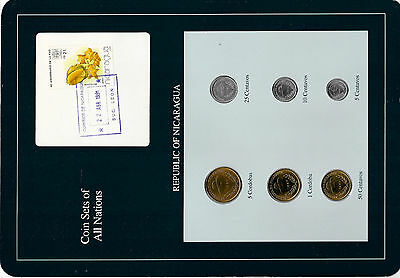 Coin Sets of All Nations Nicaragua  UNC 1,5 Cordobas 5,10,25,50 Centavos 1987