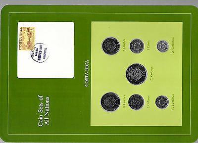 Coin Sets of All Nations Costa Rica w/card 1983-1989 UNC 5,10 Colones 1985