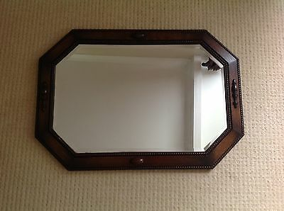 Vintage solid oak mirror rectangle bevel glass 1930s 86 x 61 cm