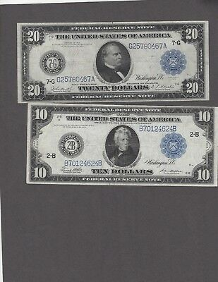 1914 $10 NY Type C & $20 Chicago VF+ Notes-NICE Pair