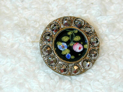 Beautiful Antique  Enamel Buttonw Riveted Cut Steel Flowers on Dark Field