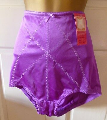 Vintage Hand Dyed Glossy Purple Pantie Girdle Control Knickers Size 16-18