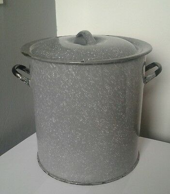 vintage French  mottled grey enamel storage bread , flour bin pot industrial