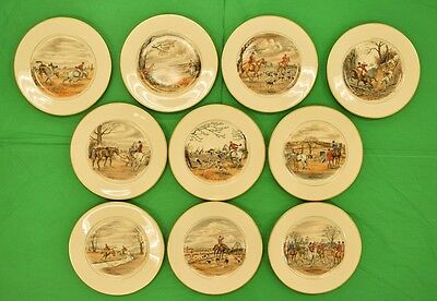 Amazing Set of 9 Abercrombie & Fitch 'Fox Hunt' Dinner Plates by Cyril Gorainoff