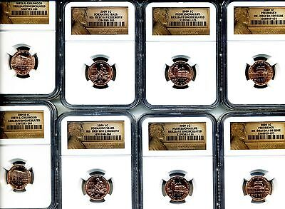 Lincoln Bicentenial Series 1909/2009 Two Sets Of 4 Dif. Ngc Holders