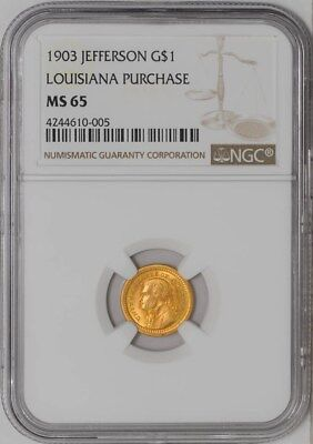 1903 $ Gold Jefferson Louisiana Purchase Dollar MS65 NGC