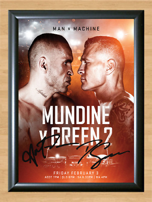 Anthony Mundine vs Danny Green 2 Signed Autographed Print Photo Poster Gloves