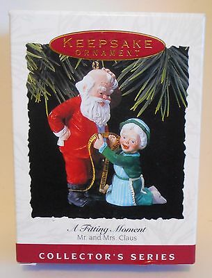 "1993 Hallmark Keepsake Ornament ""A Fitting Moment"" Santa Gets Measured MIB"