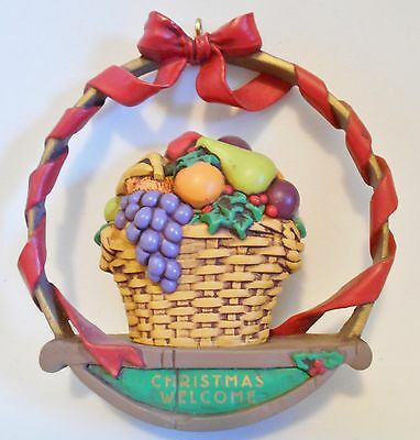 "1991 Hallmark Keepsake Ornament ""Christmas Welcome"" Fruit Wreath MIB"