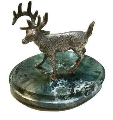 Vintage Russian Silver 84 Figurine Bust Statue Deer Hunting Marble Antique