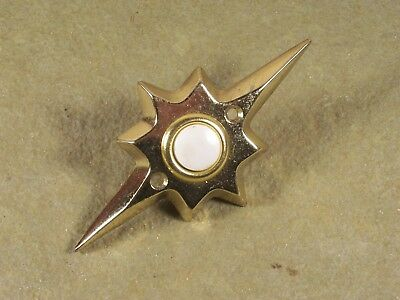 Vintage  Mid Century Starburst Door Bell White Push Button Electric Midcentury