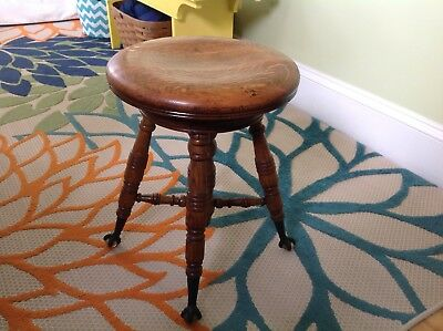 Antique Solid Oak Piano Stool With Claw and Glass Feet, A. MERRIAM Co. Mass.