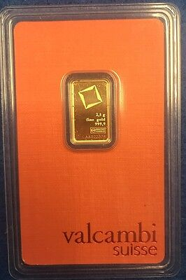 2.5 gram Gold Bar - Valcambi Suisse - 999.9 Fine in Sealed Assay