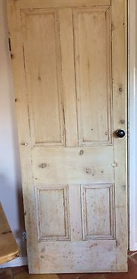 Old reclaimed Victorian stripped pine four panel door