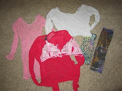 Fishnet Lot Crop Tops Long Sleeve Lingerie Shirts Tattoo Sleeves S-M