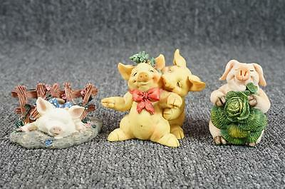 Vintage Assorted Lot Of 3 Ceramic Pig Figurines