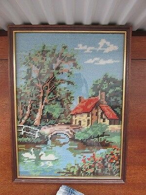 Tapestry Picture Of A Cottage River And Swans