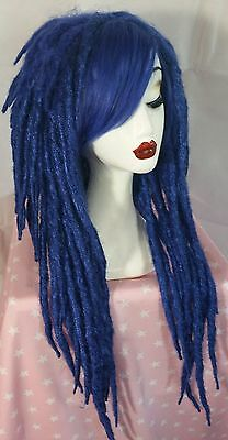 Cyber goth ALT synthetic stunning BLUE DREAD LOCK dreads extentions A-LINE WIG