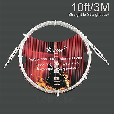 Kmise Electric Guitar Cable Cord Straight 10ft OFC Braided Low Noise Instrument