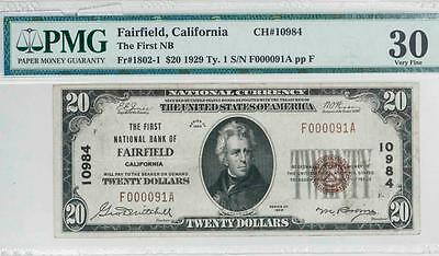 1929 $20 PMG VF30 Fairfield, Cal Nat. Bank Note Fr#1802-1 Ch#10984 It.#T5859